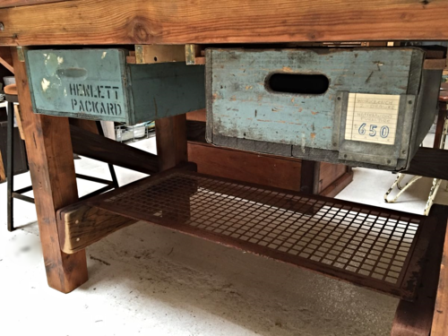 vintage crate drawers and grate shelf
